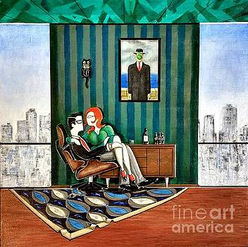 Executive Sitting in Chair with Girl Friday by John Lyes