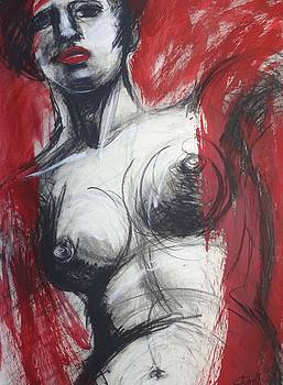 Nude Woman Torso On Red by Carmen Tyrrell