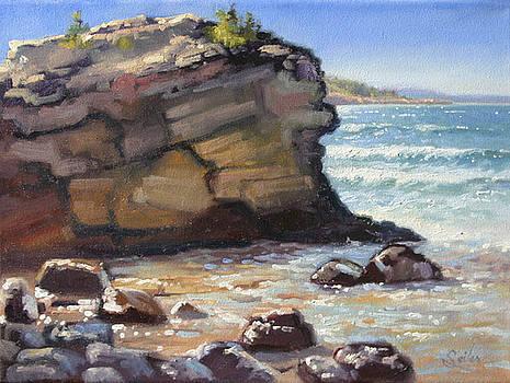 NW Rocks n Surf- Presque Isle Park- Plein air by Larry Seiler