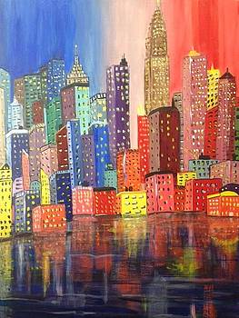 NY In Neon II by Barbara Remensnyder