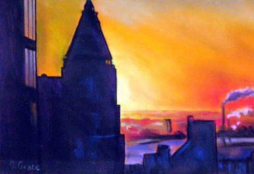 NY Skyline Winter Sunset by George Grace