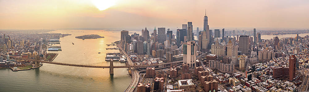 NYC Manhattan Downtown at Sunset - Aerial Panorama by Petr Hejl