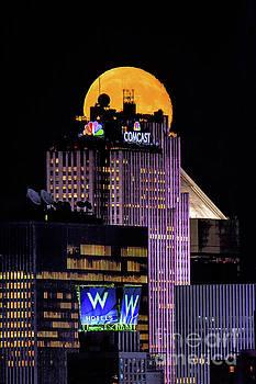 Regina Geoghan - NYC Moonrise over Skyscrapers