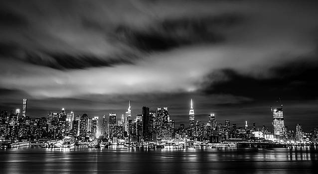 New York Skyline at Night by Mary Pat Collins