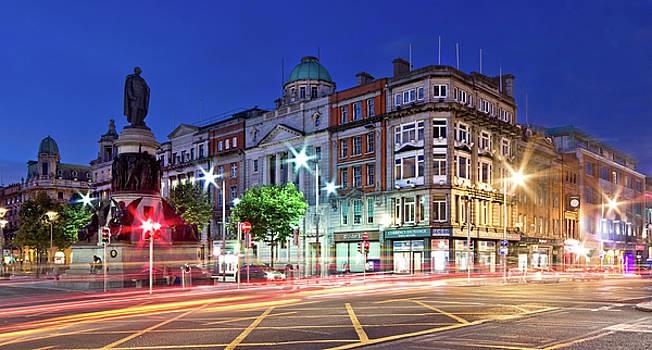 O' Connell Street at Night - Dublin City by Barry O Carroll