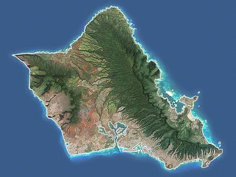 Oahu, Hawaii - Satellite Map by Ian Grasshoff