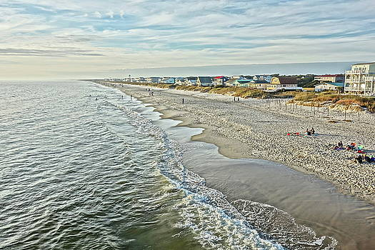Oak Island Beach - View from the Pier by Don Margulis