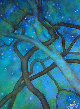 Robin Street-Morris - Oak Knotwork with Starfield in Los Penasquitos Canyon