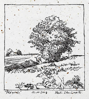 Martin Stankewitz - oak trees in the fields plein air ink drawing