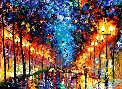 Oakland Rain - PALETTE KNIFE Oil Painting On Canvas By Leonid Afremov by Leonid Afremov