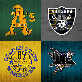 Design Turnpike - Oakland Sports Fan Recycled Vintage California License Plate Art Athletics Raiders Warriors Sharks