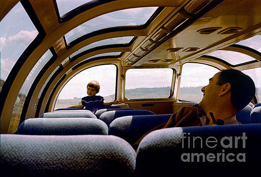 Observaition Dome Railcar, Girl and Father, California Zephyr, 1 by Wernher Krutein