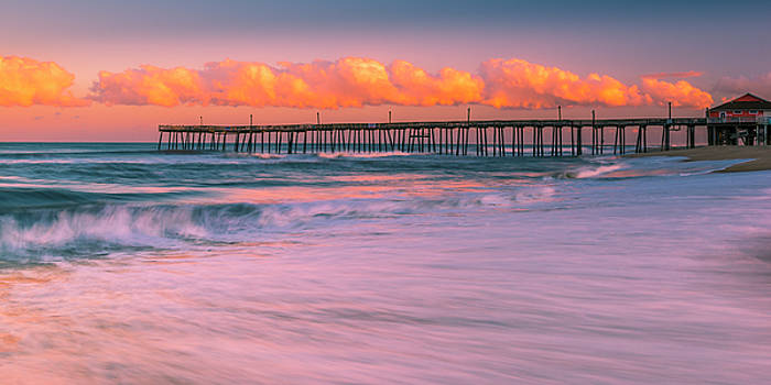 Ranjay Mitra - OBX Rodanthe Fishing Pier Sunset Panorama
