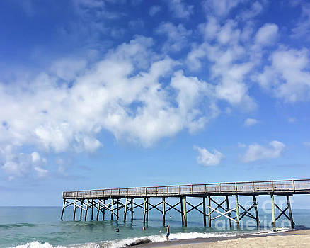 Ocean and Pier - Atlantic Beach North Carolina by Kerri Farley