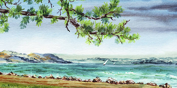 Ocean Beach Watercolour Landscape  by Irina Sztukowski
