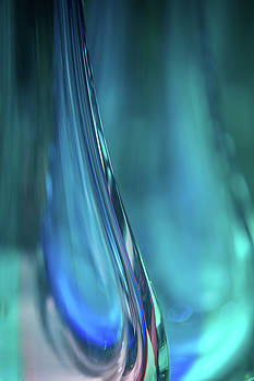Ocean Blue. Glass Vase Abstract by Jenny Rainbow
