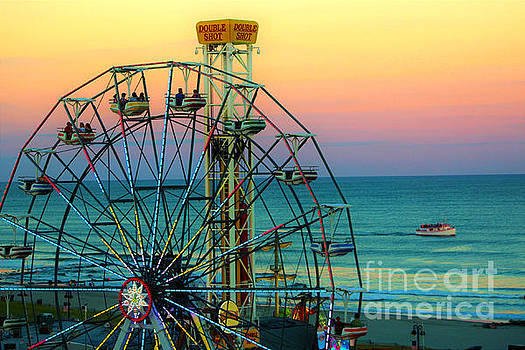 Ocean City New Jersey Boardwalk At Dusk by Beth Ferris Sale