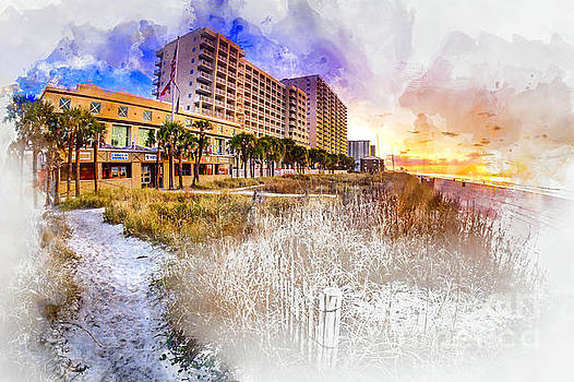 Ocean Drive Sunrise Watercolor by David Smith