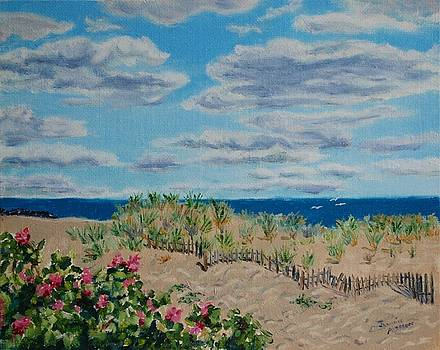 Ocean Grove Beach and Wild Roses by Jeannie Allerton