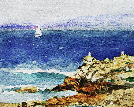 Ocean Shore Watercolor Impressionism  by Irina Sztukowski