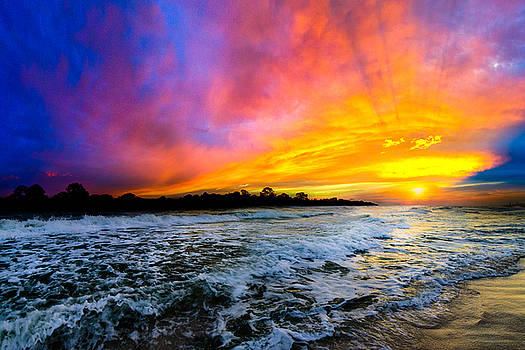 Ocean Sunset Landscape Photography Red Blue Sunset by Eszra Tanner