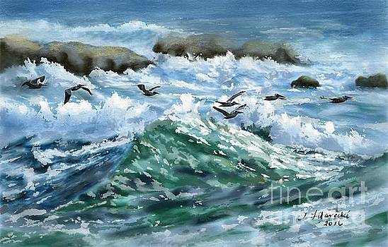 Ocean Waves and Pelicans by Judy Filarecki