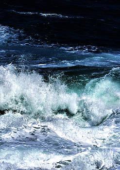 Ocean Waves in Dark Blue by PrintsProject