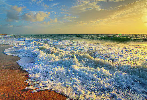 Ocean Waves Sunrise by R Scott Duncan