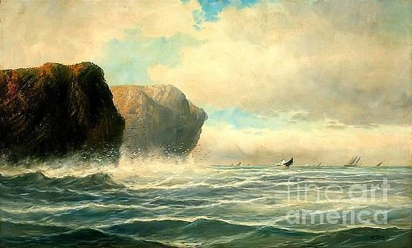 Peter Gumaer Ogden - Oceanscape with Ships in the Distance O F Baker