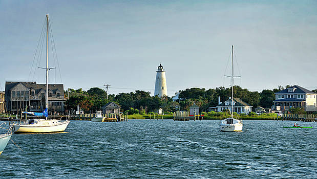 Ocracoke Island Lighthouse from Silver Lake by Brendan Reals