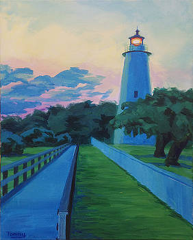 Ocracoke Lighthouse dusk by Tommy Midyette