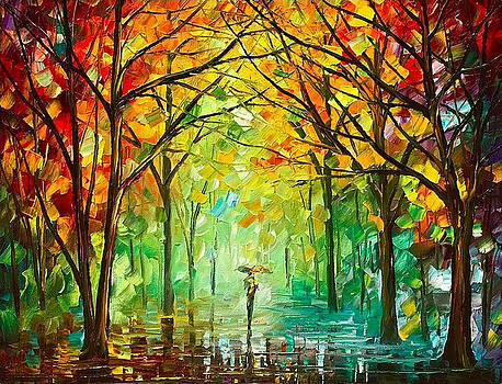 October In The Forest - PALETTE KNIFE Oil Painting On Canvas By Leonid Afremov by Leonid Afremov