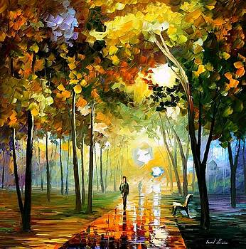 October Reflections - PALETTE KNIFE Oil Painting On Canvas By Leonid Afremov by Leonid Afremov