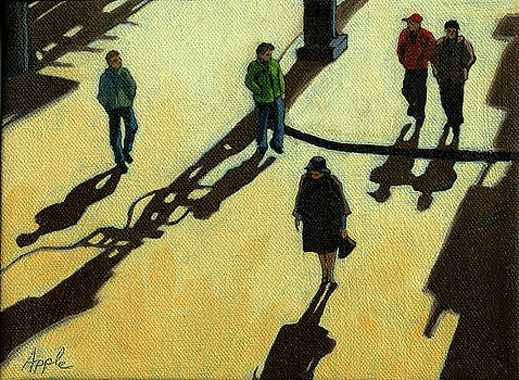 Off to Work Shadows - painting by Linda Apple