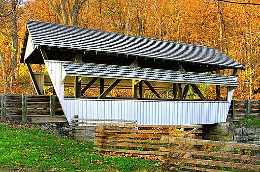 Ohio Country Roads - Rock Mill Covered Bridge Over The Hocking River No. 2A - Fairfield County by Michael Mazaika