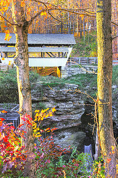 Ohio Country Roads - Rock Mill Covered Bridge Over The Hocking River No. 4A - Fairfield County by Michael Mazaika