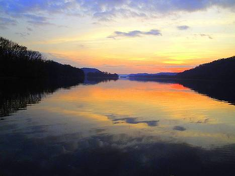 Ohio River at Sunset by Terry  Wiley