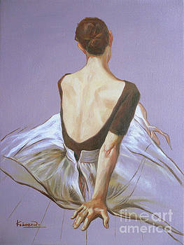 Oil painting BALLET DANCER girl  on canvas panel#16-12-2 by Hongtao Huang