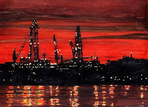 Oil Rigs Night Construction Portland Harbor by Dominic White