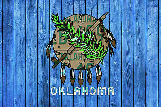 Oklahoma State Flag License Plate Art by Design Turnpike