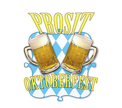 Oktoberfest in Munich, beer, pretzels and bavaria colors by Luisa Vallon Fumi
