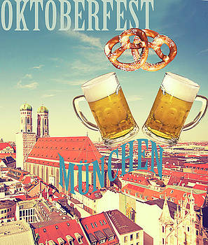 Oktoberfest Munich, vintage poster with city view by Luisa Vallon Fumi