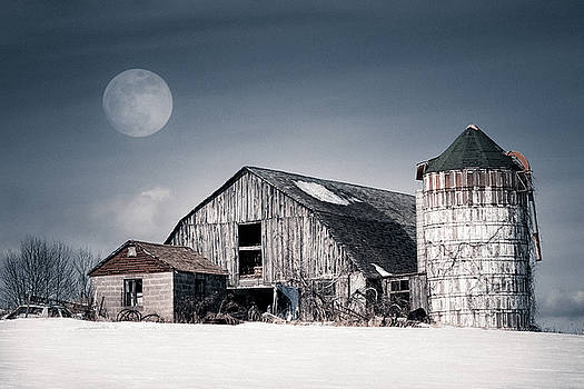Old Barn and winter moon - Snowy Rustic Landscape by Gary Heller