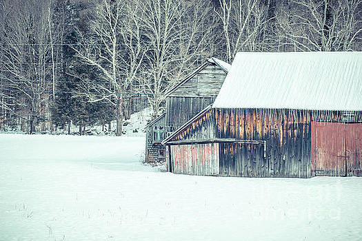 Old barn in the snow Croydon New Hampshire by Edward Fielding