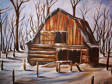 Old Barn in Winter by Joseph Baker