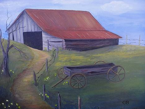 Old Barn on Hill by Glenda Barrett