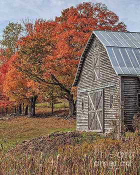 Old Barn with New England Foliage by Edward Fielding