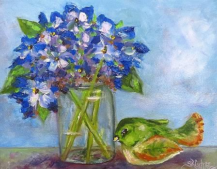 Old Blue Mason Jar by Sandra Cutrer