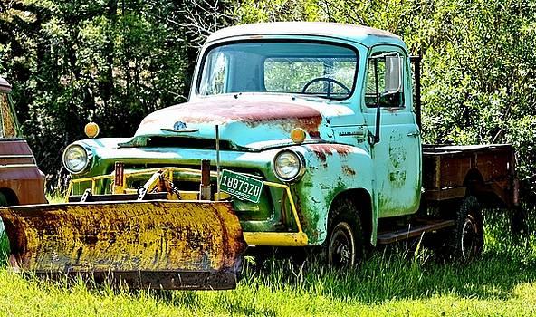 Old Blue Truck Snowplow by Amy McDaniel