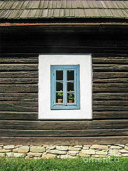 Old Blue Wood Window by Daliana Pacuraru